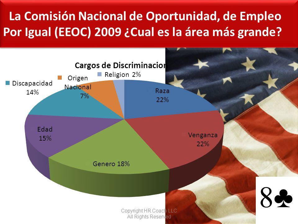 La Comisión Nacional de Oportunidad, de Empleo Por Igual (EEOC) 2009 ¿Cual es la área más grande? Copyright HR Coach LLC All Rights Reserved 10 8