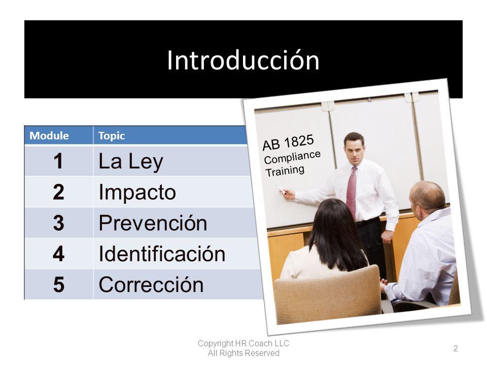 Problemas de asistencia Evitar a una persona determinada Baja Productividad Irritable Copyright HR Coach LLC All Rights Reserved 43 Module 3 - Prevention