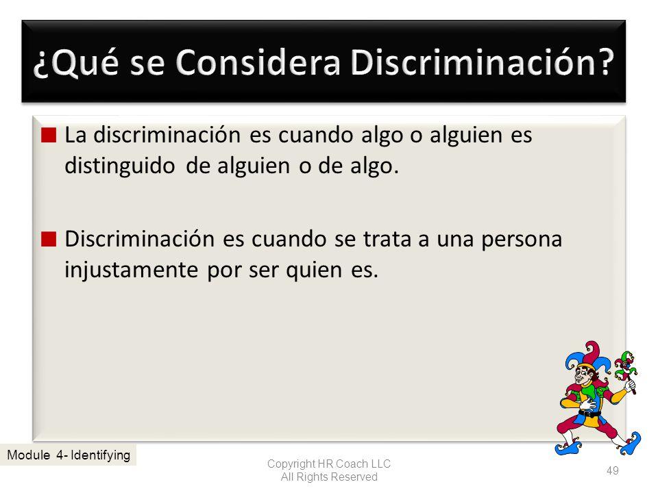 La discriminación es cuando algo o alguien es distinguido de alguien o de algo. Discriminación es cuando se trata a una persona injustamente por ser q
