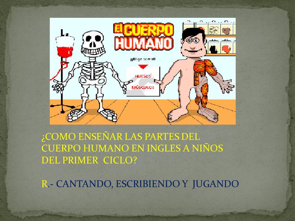 ¿COMO ENSEÑAR LAS PARTES DEL CUERPO HUMANO EN INGLES A NIÑOS DEL PRIMER CICLO? R.- CANTANDO, ESCRIBIENDO Y JUGANDO