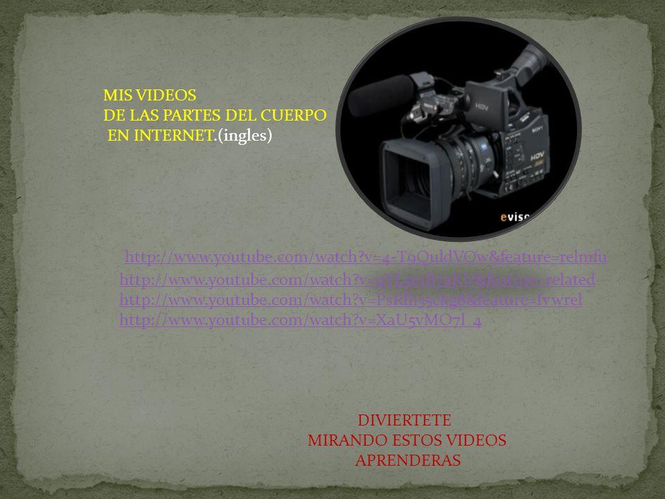 MIS VIDEOS DE LAS PARTES DEL CUERPO EN INTERNET.(ingles) http://www.youtube.com/watch?v=XaU5vMO7l_4 http://www.youtube.com/watch?v=PsRlh35ckg8&feature