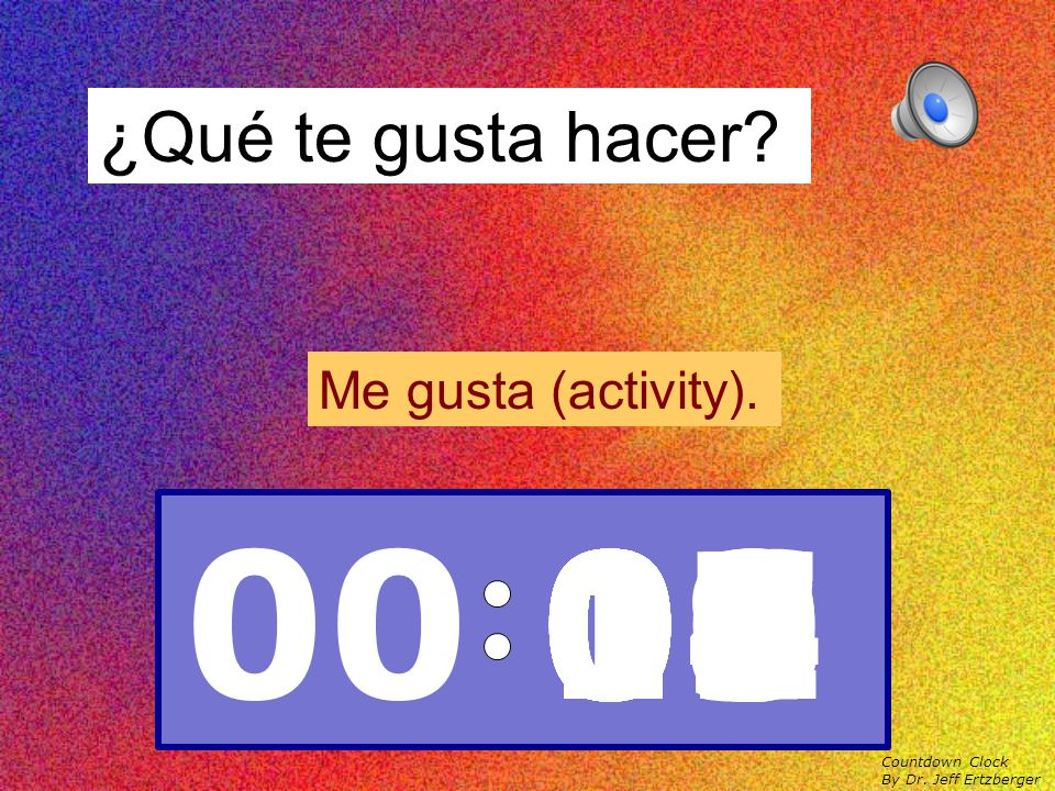 ¿Qué tiempo hace? Hace (weather term). Countdown Clock By Dr. Jeff Ertzberger 00 15141312111009080706050403020100
