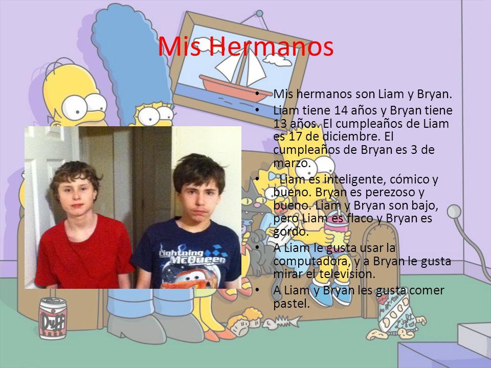 Mis Hermanos Mis hermanos son Liam y Bryan.Liam tiene 14 años y Bryan tiene 13 años.