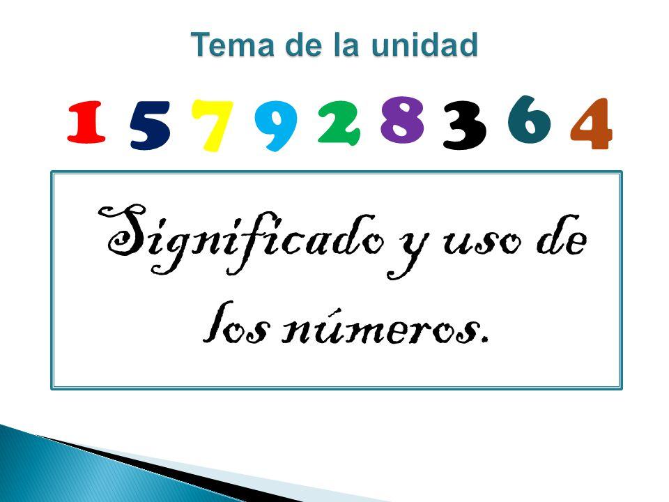 Significado y uso de los números. 1 5 7 9 2 8 3 6 4