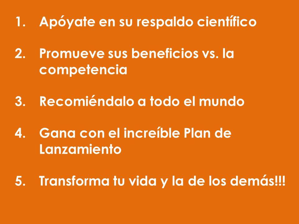 1.Apóyate en su respaldo científico 2.Promueve sus beneficios vs. la competencia 3.Recomiéndalo a todo el mundo 4.Gana con el increíble Plan de Lanzam