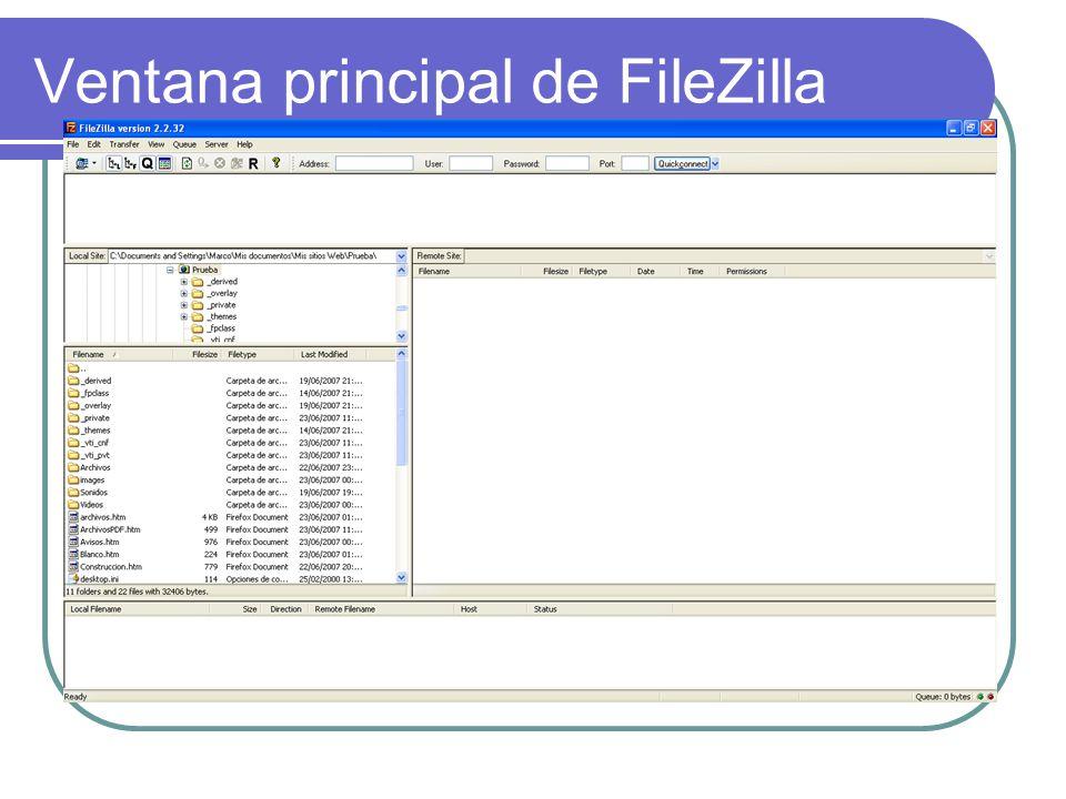 Ventana principal de FileZilla