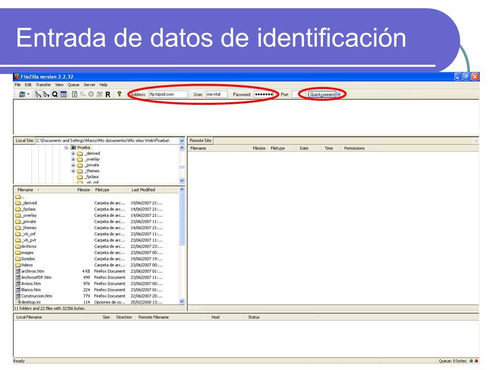 Entrada de datos de identificación