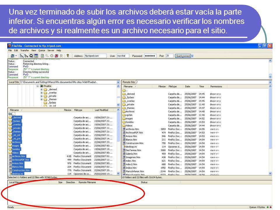 Una vez terminado de subir los archivos deberá estar vacía la parte inferior.