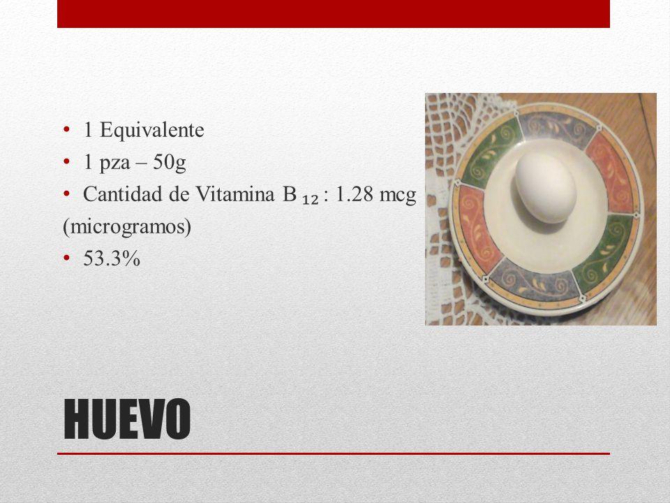 HUEVO 1 Equivalente 1 pza – 50g Cantidad de Vitamina B : 1.28 mcg (microgramos) 53.3%