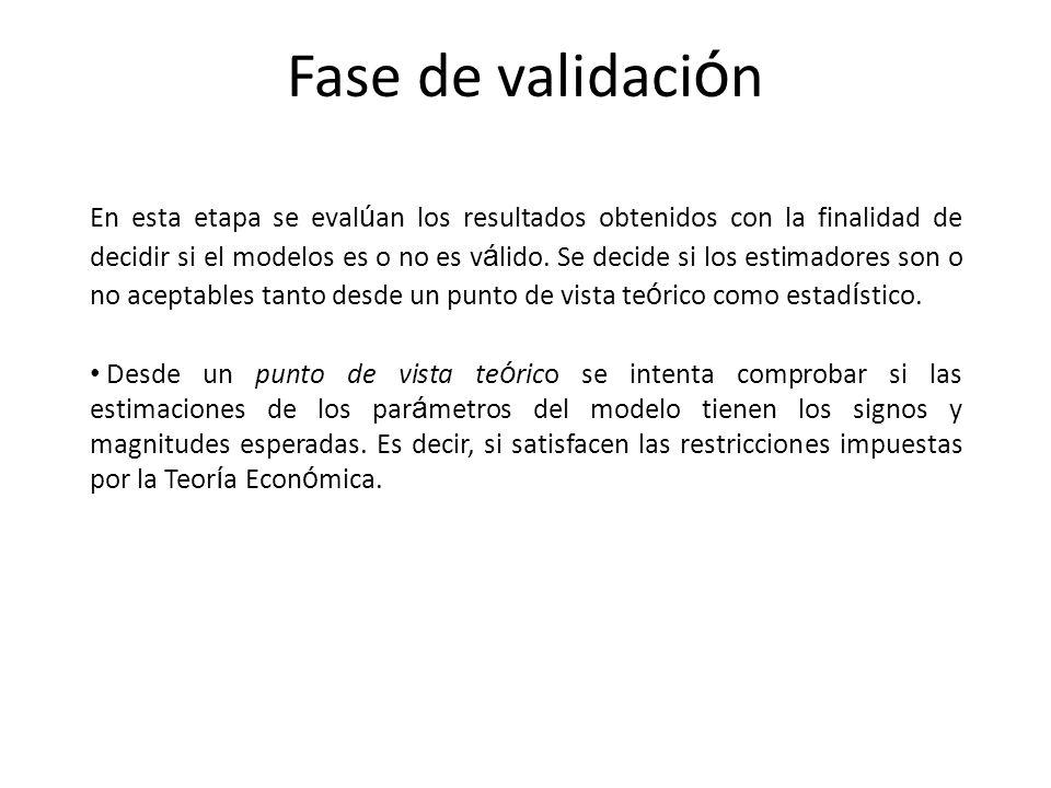 Fase de validaci ó n En esta etapa se eval ú an los resultados obtenidos con la finalidad de decidir si el modelos es o no es v á lido. Se decide si l