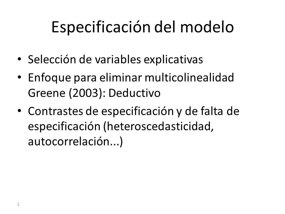 Especificación del modelo Selección de variables explicativas Enfoque para eliminar multicolinealidad Greene (2003): Deductivo Contrastes de especific