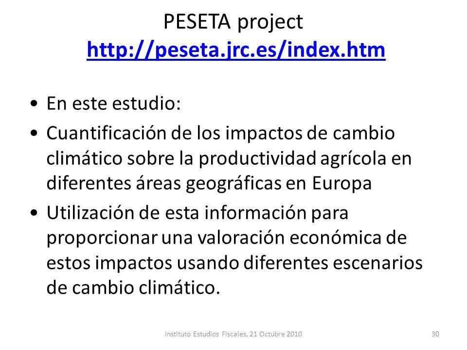 PESETA project http://peseta.jrc.es/index.htmhttp://peseta.jrc.es/index.htm En este estudio: Cuantificación de los impactos de cambio climático sobre