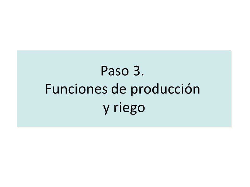Paso 3. Funciones de producción y riego Paso 3. Funciones de producción y riego