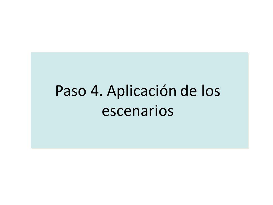 Paso 4. Aplicación de los escenarios Paso 4. Aplicación de los escenarios