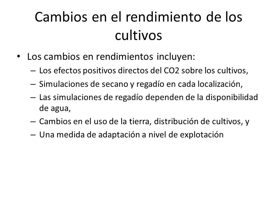 Los cambios en rendimientos incluyen: – Los efectos positivos directos del CO2 sobre los cultivos, – Simulaciones de secano y regadío en cada localiza