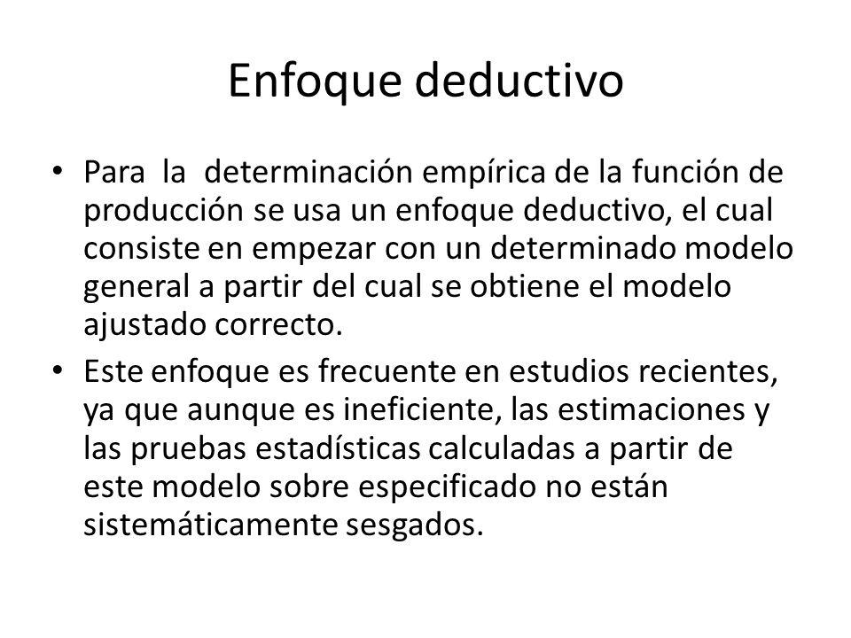 Enfoque deductivo Para la determinación empírica de la función de producción se usa un enfoque deductivo, el cual consiste en empezar con un determina