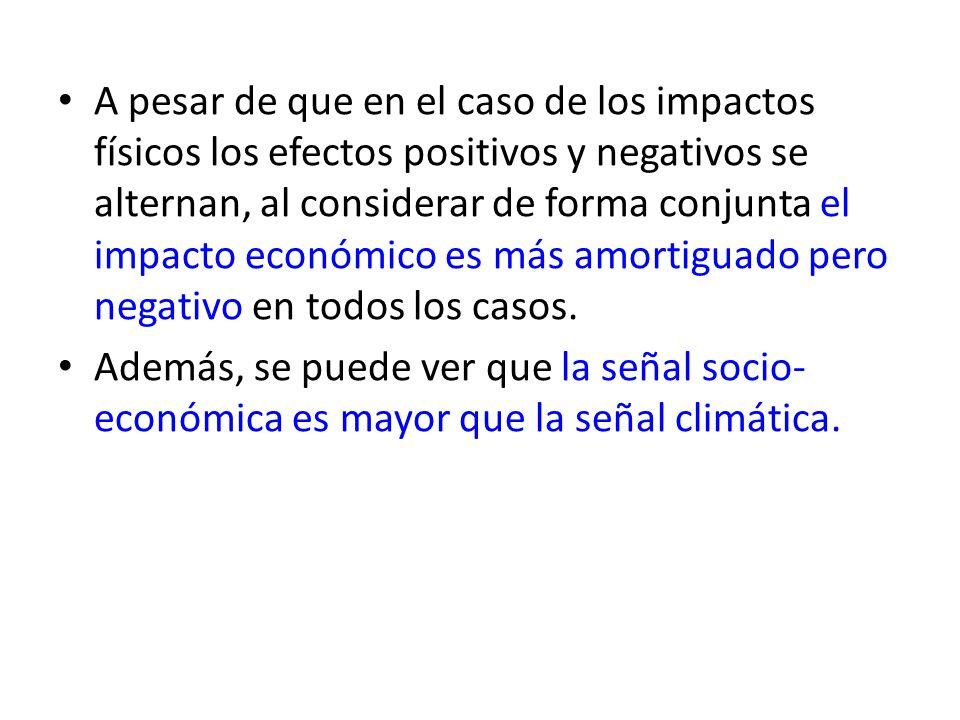 A pesar de que en el caso de los impactos físicos los efectos positivos y negativos se alternan, al considerar de forma conjunta el impacto económico