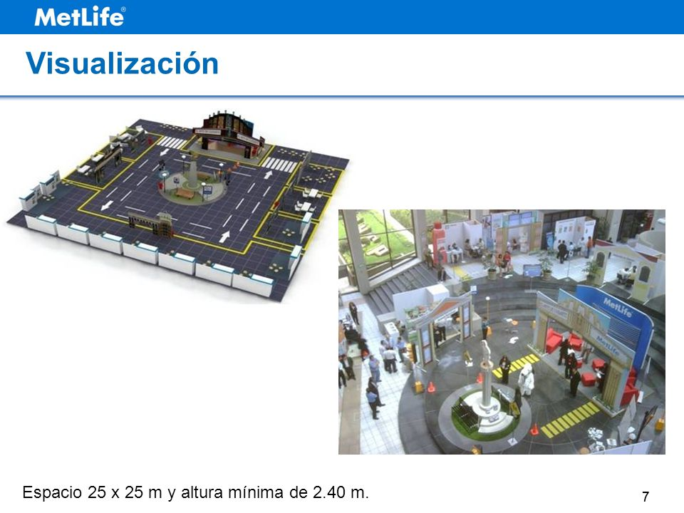 77 Espacio 25 x 25 m y altura mínima de 2.40 m. Vista de la Feria Visualización