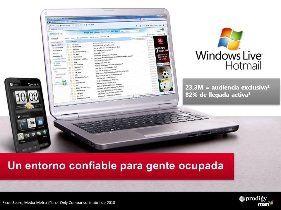 Un entorno confiable para gente ocupada 23,3M = audiencia exclusiva 1 82% de llegada activa 1 1 comScore, Media Metrix (Panel Only Comparison), abril de 2010