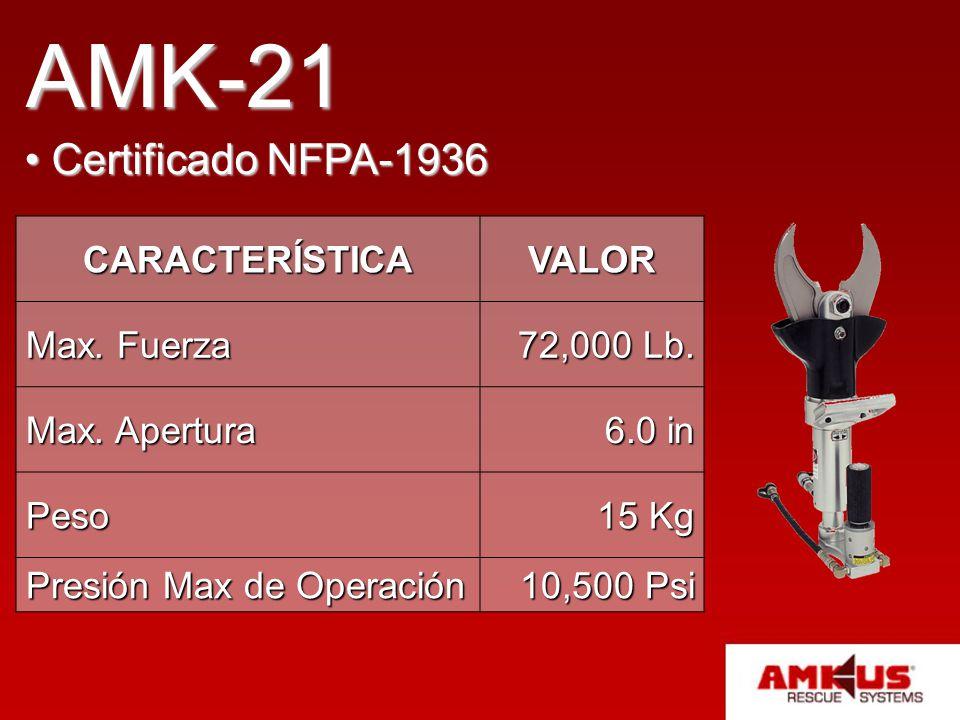 AMK-21 Certificado NFPA-1936 Certificado NFPA-1936 CARACTERÍSTICAVALOR Max. Fuerza 72,000 Lb. Max. Apertura 6.0 in Peso 15 Kg Presión Max de Operación