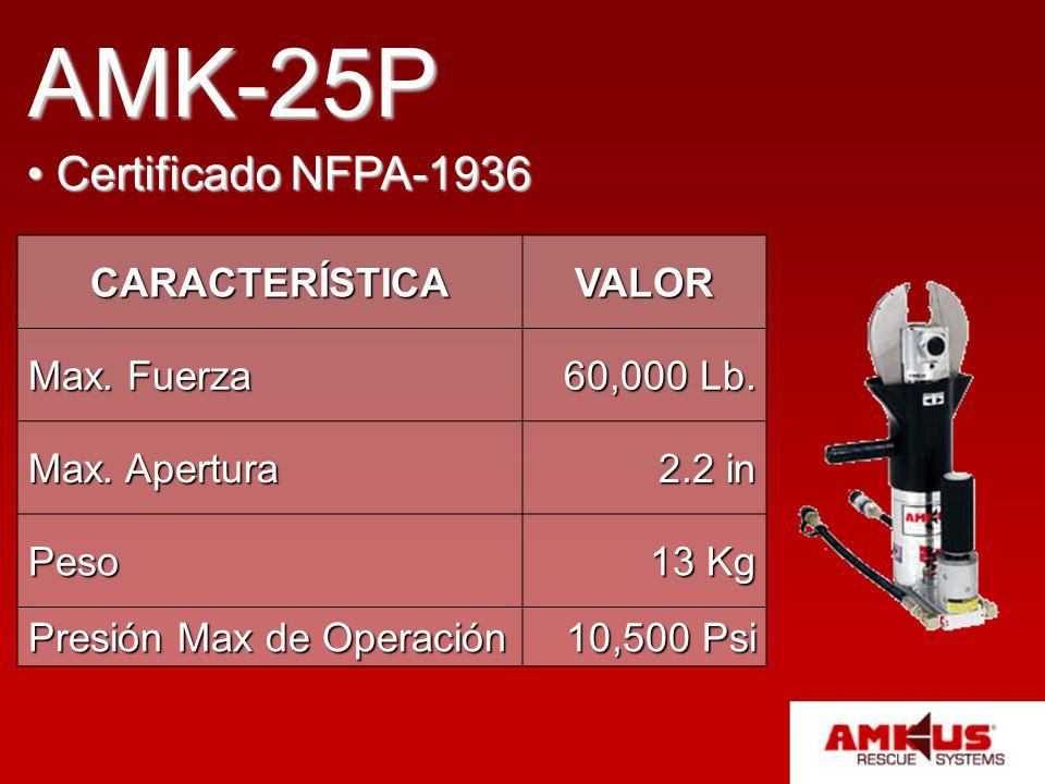 AMK-25P Certificado NFPA-1936 Certificado NFPA-1936 CARACTERÍSTICAVALOR Max. Fuerza 60,000 Lb. Max. Apertura 2.2 in Peso 13 Kg Presión Max de Operació