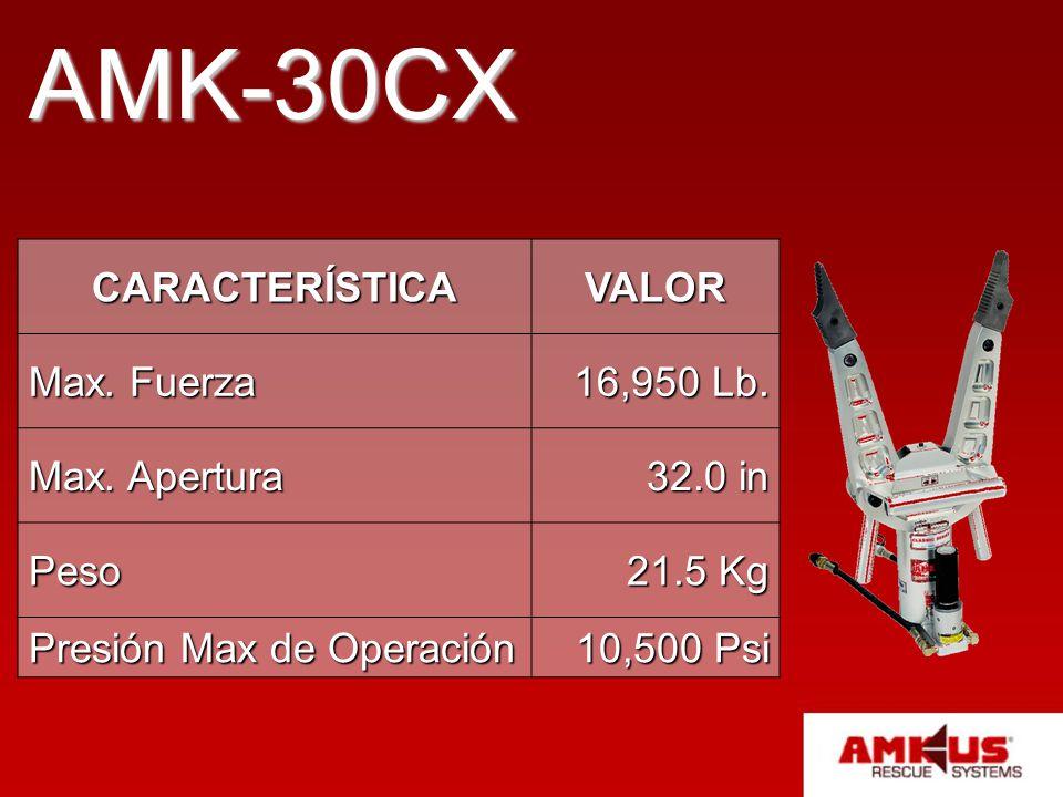 AMK-30CX CARACTERÍSTICAVALOR Max. Fuerza 16,950 Lb. Max. Apertura 32.0 in Peso 21.5 Kg Presión Max de Operación 10,500 Psi
