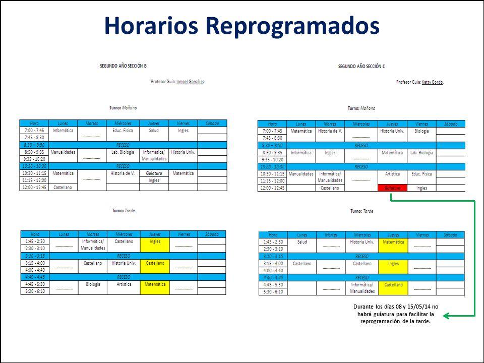 Durante los días 08 y 15/05/14 no habrá guiatura para facilitar la reprogramación de la tarde.
