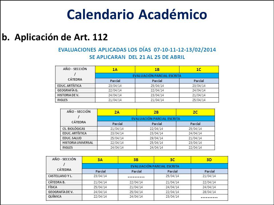 Calendario Académico b.Aplicación de Art.