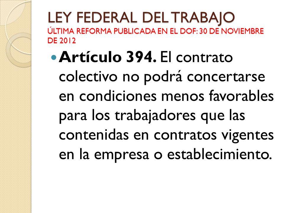 LEY FEDERAL DEL TRABAJO ÚLTIMA REFORMA PUBLICADA EN EL DOF: 30 DE NOVIEMBRE DE 2012 Artículo 394. El contrato colectivo no podrá concertarse en condic