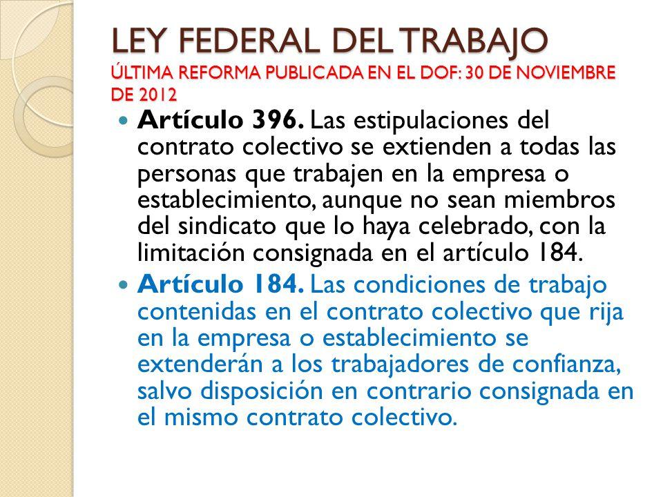 LEY FEDERAL DEL TRABAJO ÚLTIMA REFORMA PUBLICADA EN EL DOF: 30 DE NOVIEMBRE DE 2012 Artículo 396. Las estipulaciones del contrato colectivo se extiend