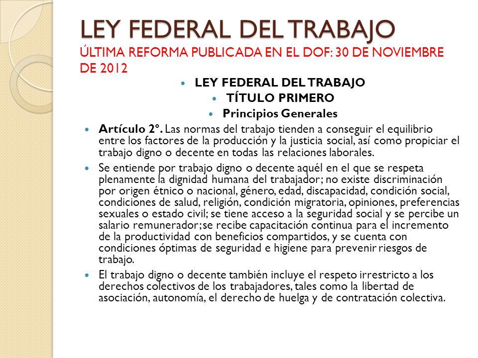 LEY FEDERAL DEL TRABAJO LEY FEDERAL DEL TRABAJO ÚLTIMA REFORMA PUBLICADA EN EL DOF: 30 DE NOVIEMBRE DE 2012 LEY FEDERAL DEL TRABAJO TÍTULO PRIMERO Pri