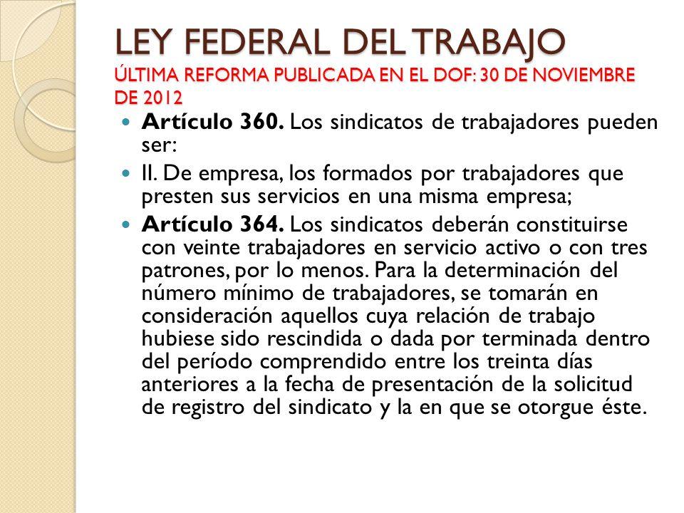 LEY FEDERAL DEL TRABAJO ÚLTIMA REFORMA PUBLICADA EN EL DOF: 30 DE NOVIEMBRE DE 2012 Artículo 360. Los sindicatos de trabajadores pueden ser: II. De em