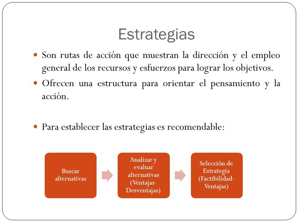 Estrategias Son rutas de acción que muestran la dirección y el empleo general de los recursos y esfuerzos para lograr los objetivos.
