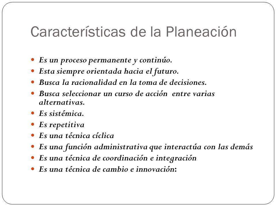 Características de la Planeación Es un proceso permanente y continúo.