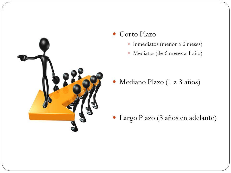 Corto Plazo Inmediatos (menor a 6 meses) Mediatos (de 6 meses a 1 año) Mediano Plazo (1 a 3 años) Largo Plazo (3 años en adelante)