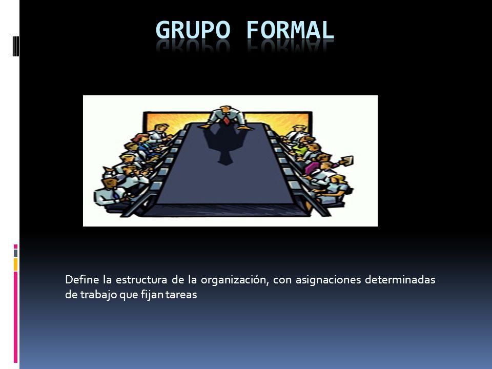 Define la estructura de la organización, con asignaciones determinadas de trabajo que fijan tareas
