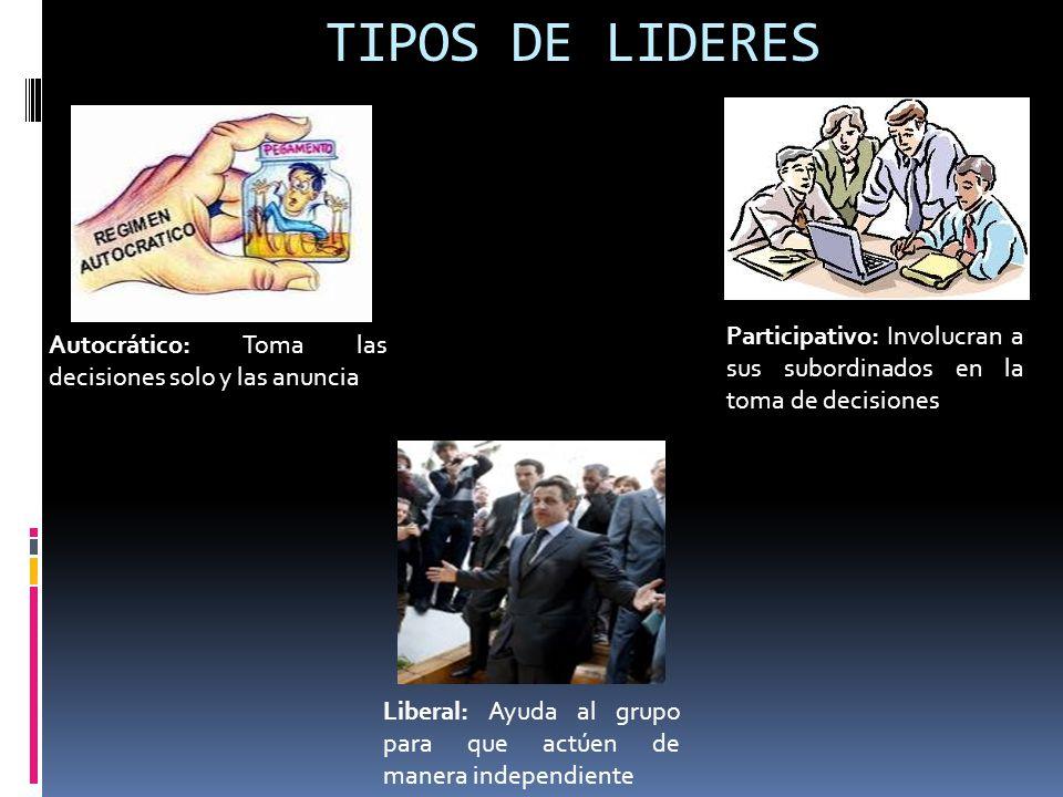 TIPOS DE LIDERES Autocrático: Toma las decisiones solo y las anuncia Participativo: Involucran a sus subordinados en la toma de decisiones Liberal: Ay