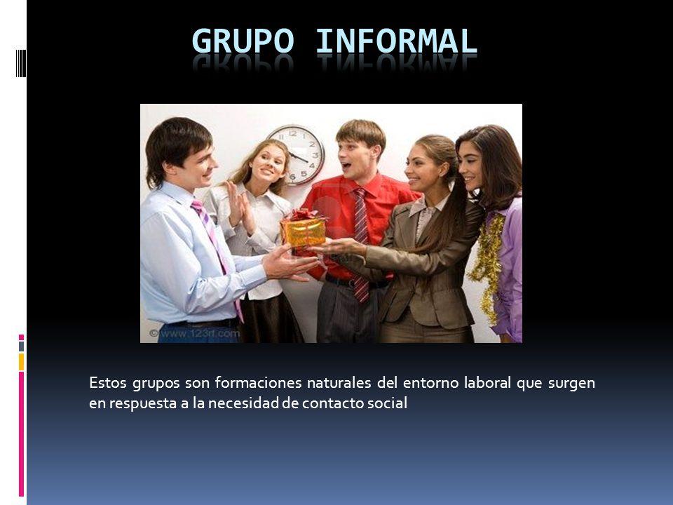 Estos grupos son formaciones naturales del entorno laboral que surgen en respuesta a la necesidad de contacto social
