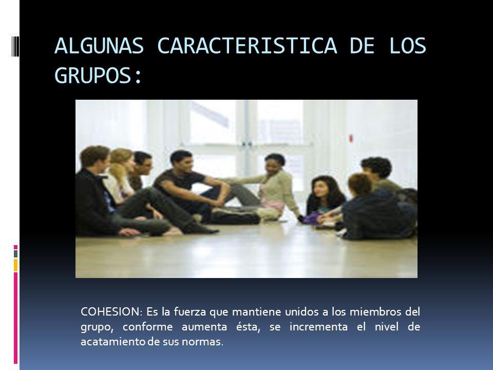 ALGUNAS CARACTERISTICA DE LOS GRUPOS: COHESION: Es la fuerza que mantiene unidos a los miembros del grupo, conforme aumenta ésta, se incrementa el niv