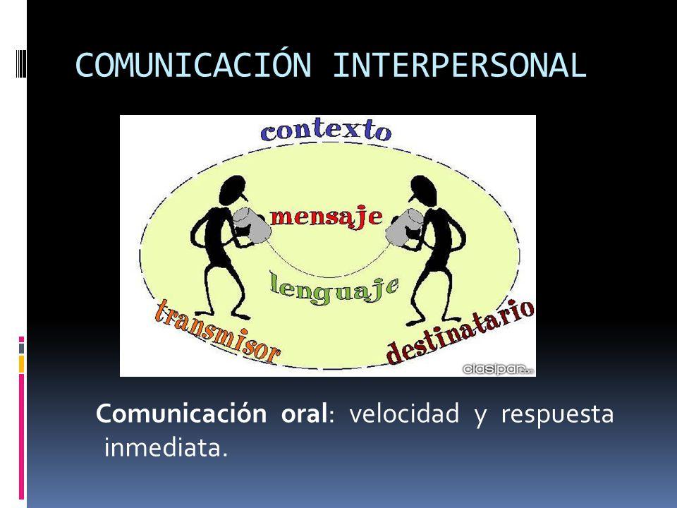 COMUNICACIÓN INTERPERSONAL Comunicación oral: velocidad y respuesta inmediata.
