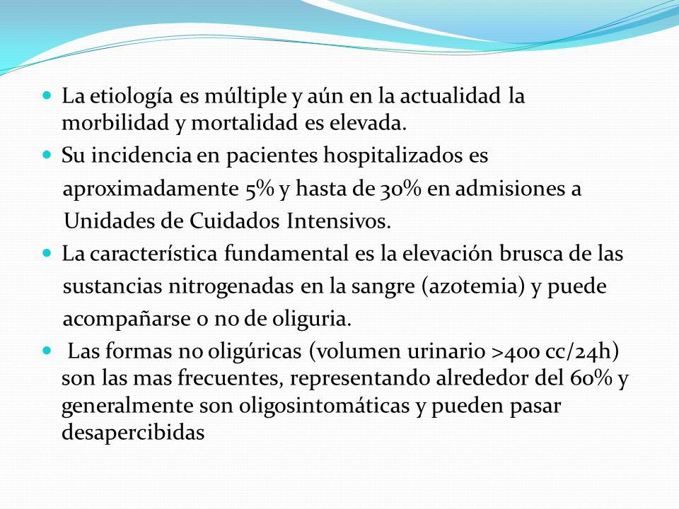 La etiología es múltiple y aún en la actualidad la morbilidad y mortalidad es elevada. Su incidencia en pacientes hospitalizados es aproximadamente 5%