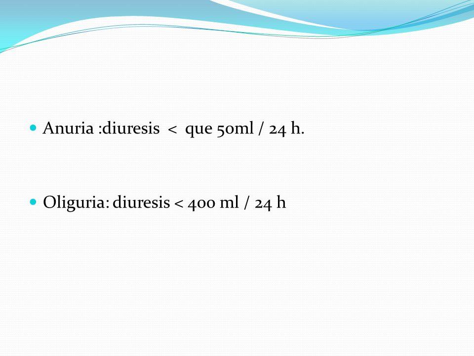 Anuria :diuresis < que 50ml / 24 h. Oliguria: diuresis < 400 ml / 24 h