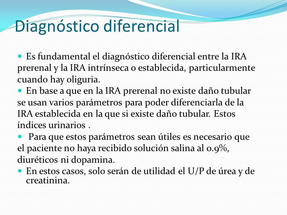 Diagnóstico diferencial Es fundamental el diagnóstico diferencial entre la IRA prerenal y la IRA intrínseca o establecida, particularmente cuando hay oliguria.