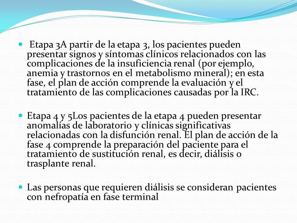Etapa 3A partir de la etapa 3, los pacientes pueden presentar signos y síntomas clínicos relacionados con las complicaciones de la insuficiencia renal