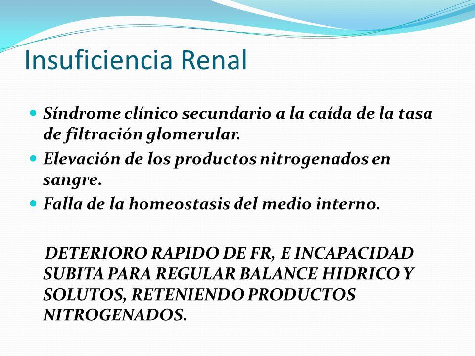 Insuficiencia Renal Síndrome clínico secundario a la caída de la tasa de filtración glomerular. Elevación de los productos nitrogenados en sangre. Fal