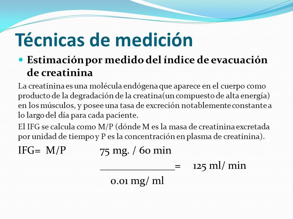 Técnicas de medición Estimación por medido del índice de evacuación de creatinina La creatinina es una molécula endógena que aparece en el cuerpo como