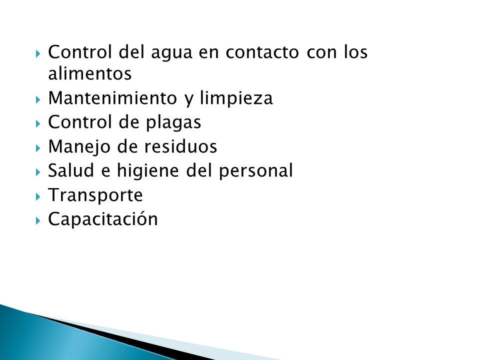 Control del agua en contacto con los alimentos Mantenimiento y limpieza Control de plagas Manejo de residuos Salud e higiene del personal Transporte C
