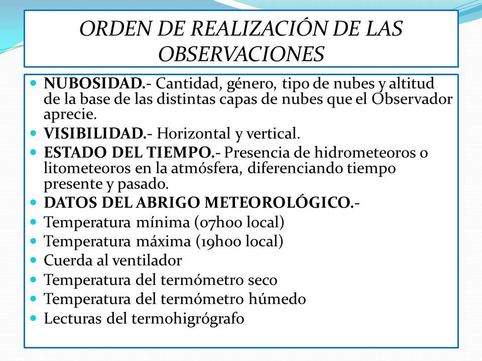 ORDEN DE REALIZACIÓN DE LAS OBSERVACIONES NUBOSIDAD.- Cantidad, género, tipo de nubes y altitud de la base de las distintas capas de nubes que el Obse