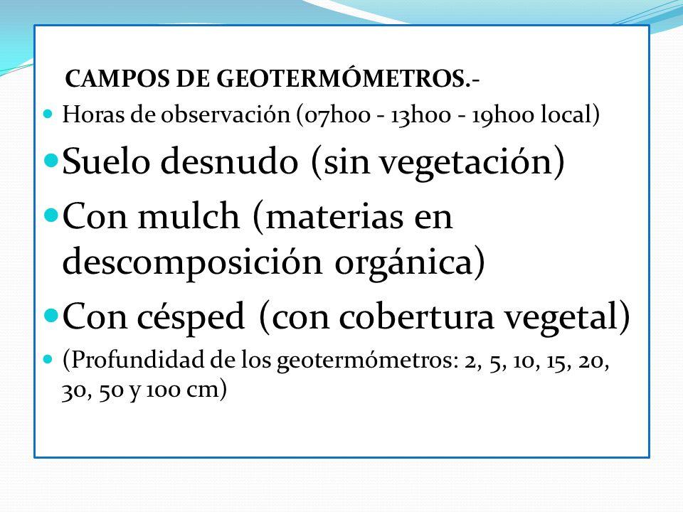 CAMPOS DE GEOTERMÓMETROS.- Horas de observación (07h00 - 13h00 - 19h00 local) Suelo desnudo (sin vegetación) Con mulch (materias en descomposición org