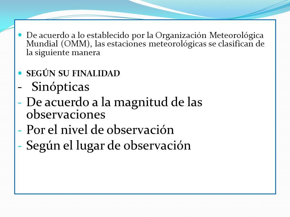 De acuerdo a lo establecido por la Organización Meteorológica Mundial (OMM), las estaciones meteorológicas se clasifican de la siguiente manera SEGÚN